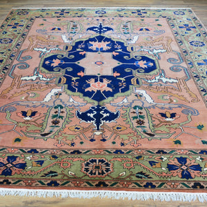 Hand-Knotted Geometric Design Handmade Wool Rug (Size 8.2 X 9.10) Brral-6333