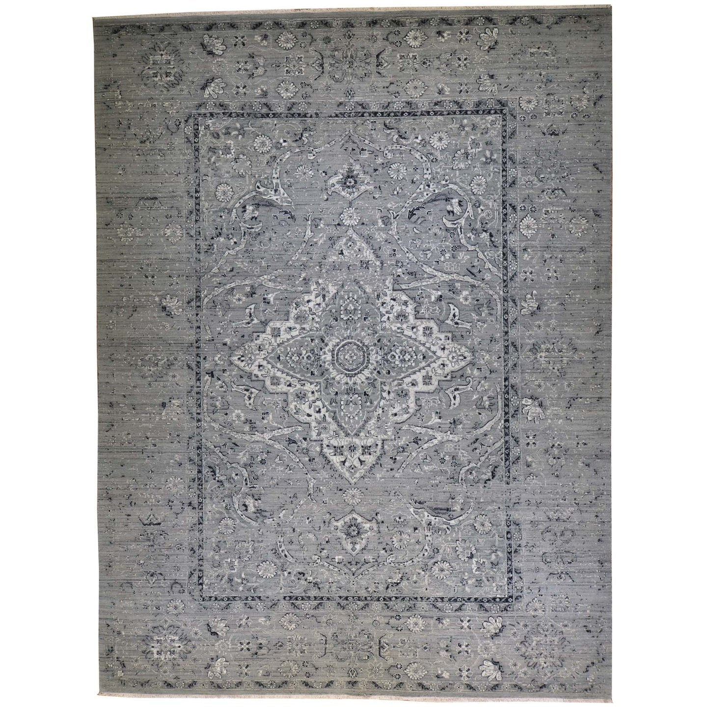 Fine Wool Silk Traditional Design Handmade Rug (Size 9.1 X 12.2) Brral-6378
