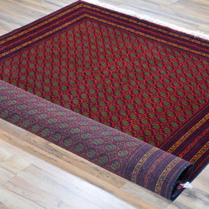 Hand-Knotted Fine Afghan Tribal Turkoman Wool Rug (Size 5.1 X 6.9) Brral-6540
