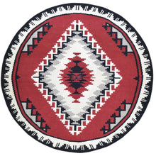 Load image into Gallery viewer, Hand-Woven Round Southwestern Design Wool Rug (Size 6.0 X 6.0) Brral-6576