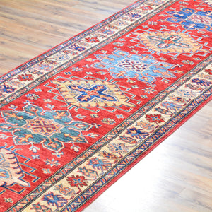 Hand-Knotted Extra Long Kazak Runner 100% Wool Rug (Size 3.3 X 37.8) Brral-6588