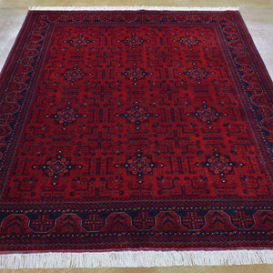 Hand-Knotted Fine Turkmen Handmade Tribal Wool Rug (Size 4.11 X 6.4) Brral-801