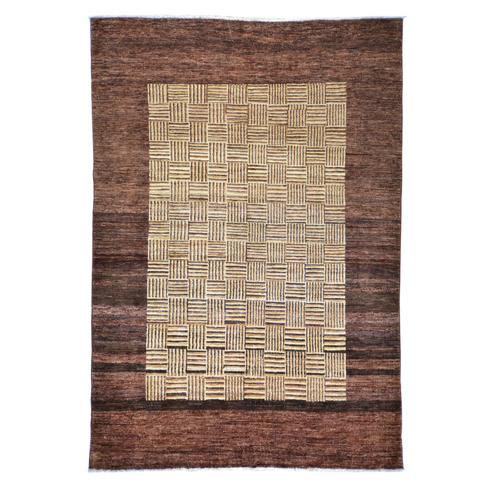 Hand-Knotted Peshawar Tribal Gabbeh Design Wool Rug (Size 5.11 X 8.7) Brral-909