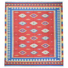 Load image into Gallery viewer, Hand-Woven Reversible Kilim Dhurrie Geometric Design Wool Rug (Size 8.2 X 10.0) Brral-2127