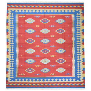 Hand-Woven Reversible Kilim Dhurrie Geometric Design Wool Rug (Size 8.2 X 10.0) Brral-2127