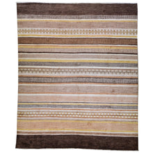 Load image into Gallery viewer, Hand-Knotted Striped Peshawar Gabbeh Wool Handmade Rug (Size 8.0 X 10.1) Brral-2556