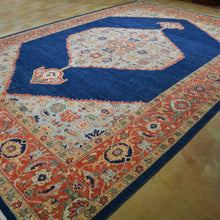Load image into Gallery viewer, Hand-Knotted Geometric Oriental Design Wool Rug (Size 10.3 X 14.0) Brrsf-6123