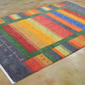 Hand-Loomed Stunning Modern Striped Gabbeh Wool Contemporary Rug (Size 5.5 X 8.1) Brrsf-6144