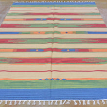 Load image into Gallery viewer, Hand-Woven Cotton Durrie Reversible Handmade Rug (Size 5.1 X 7.5) Brrsf-1110