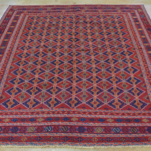Load image into Gallery viewer, Hand-Knotted And Soumak Afghan Mashwani Wool Rug (Size 5.4 X 6.7) Brrsf-1137