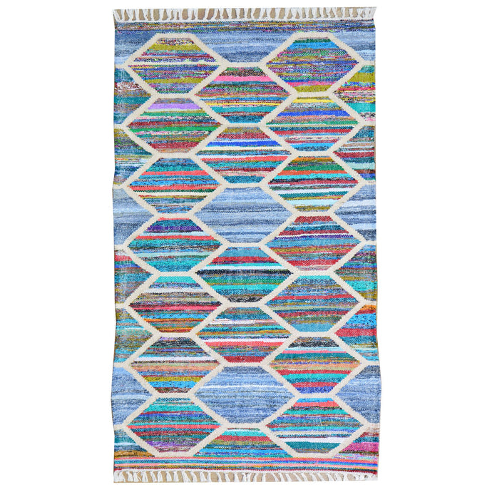 Hand-Woven Flatweave Multicolored Rug Handmade Rug (Size 2.6 X 6.1) Brrsf-1437