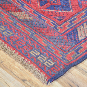 Hand-Knotted And Soumak Square Tribal Afghan Soumak Wool Handmade Rug (Size 3.8 X 4.1) Brral-3573