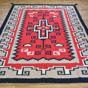 Hand-Woven Reversible Dhurrie Kilim Southwestern Design Rug (Size 6.1 X 9.0) Brral-4044