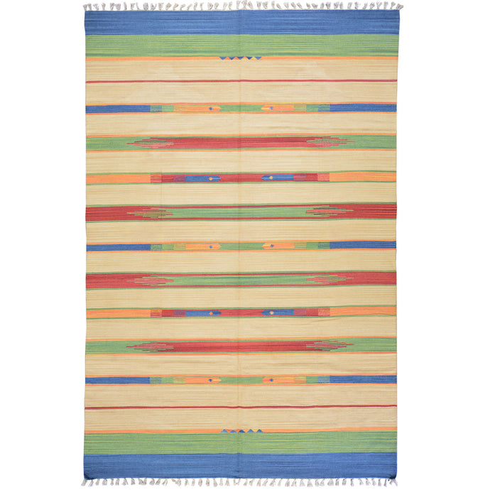 Hand-Woven Flatweave Cotton Kilim Southwestern Design Rug (Size 6.0 X 9.0) Cwral-4119