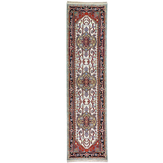 Hand-Knotted Traditional Tribal Serapi Heriz Design 100% Wool Rug (Size 2.5 X 10.0) Brral-4443