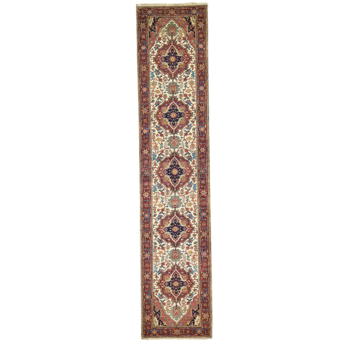 Hand-Knotted Fine Heriz Traditional Design 100% Wool Handmade Rug (Size 2.7 X 12.0) Cwral-4545