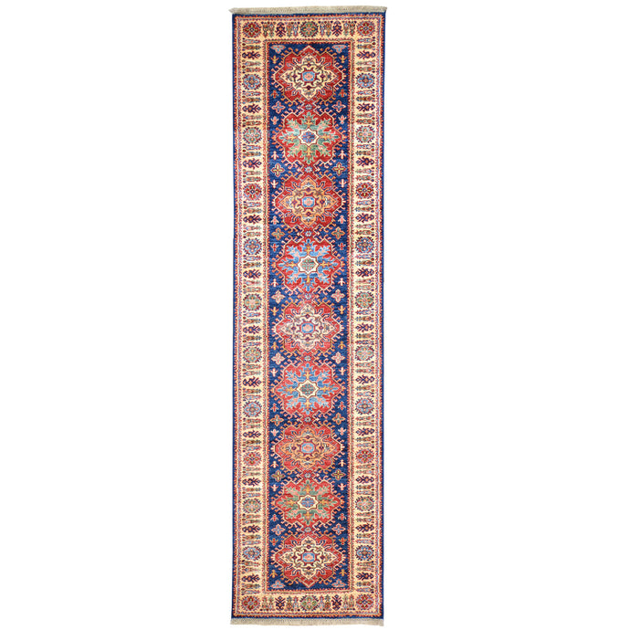Hand-Knotted Fine Super Kazak Tribal Handmade 100% Wool Rug (Size 2.7 X 10.3) Brral-4671