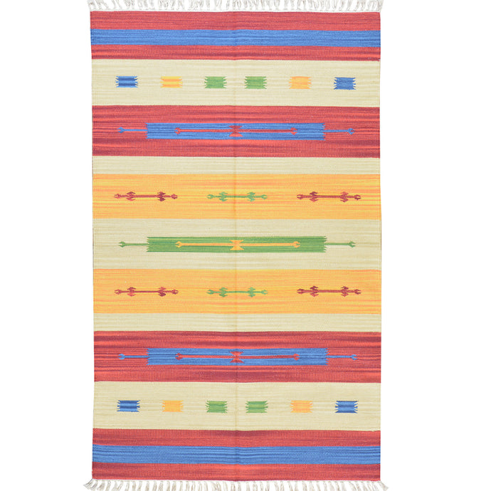 Hand-Woven Cotton Reversible Southwestern Design Kilim Handmade Rug (Size 3.7 X 5.9) Brral-5250