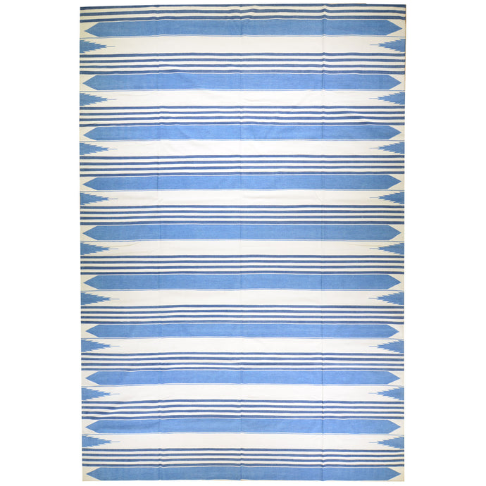 Hand-Woven Cotton Striped Design Darrie Handmade Kilim Rug (Size 9.7 X 13.11) Brral-5598
