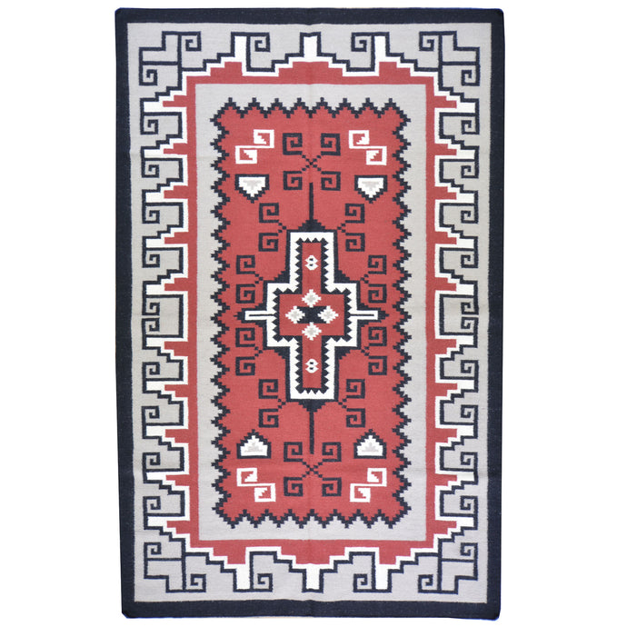 Hand-Woven Kilim Southwestern Design Wool Rug (Size 5.1 X 7.11) Cwral-5958