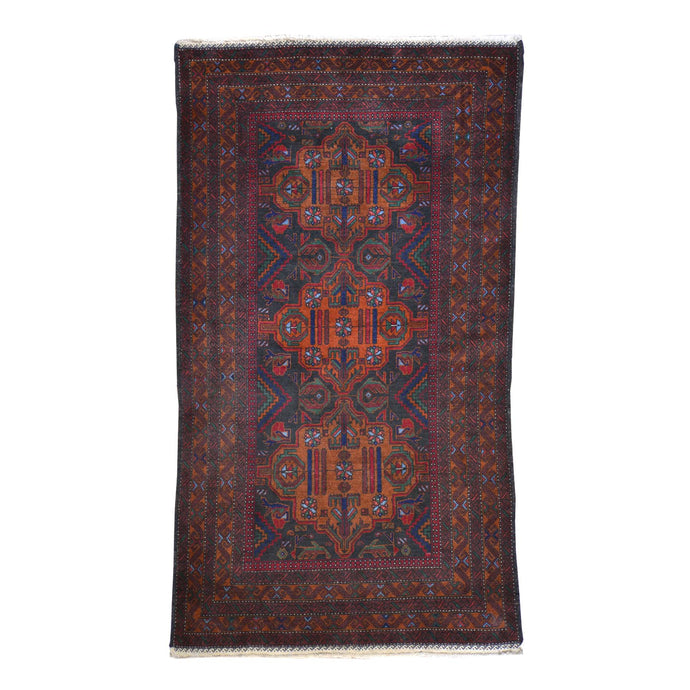 Hand-Knotted Baluch Geometric Design Wool Handmade Rug (Size 3.10 X 6.10) Cwral-642