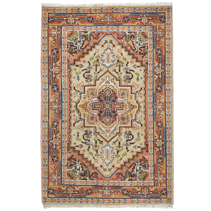 Hand-Knotted Traditional Heriz Geometric Design Wool Rug (Size 4.0 X 5.11) Cwral-6627