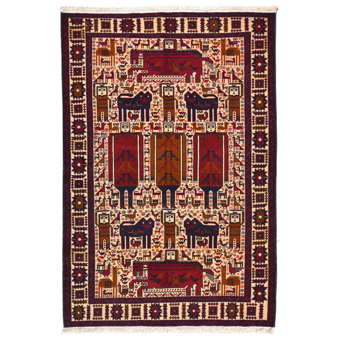 Hand-Knotted Tribal Baluch Animal Print Design Wool Rug (Size 4.0 X 6.1) Cwral-6651