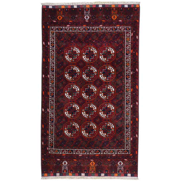 Hand-Knotted Turkmen Handmade Tribal Traditional Rug (Size 3.6 X 6.2) Cwral-6654