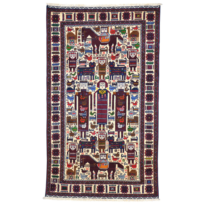 Hand-Knotted Tribal Baluch Pictorial  Design Wool Rug (Size 3.9 X 6.5) Cwral-6666