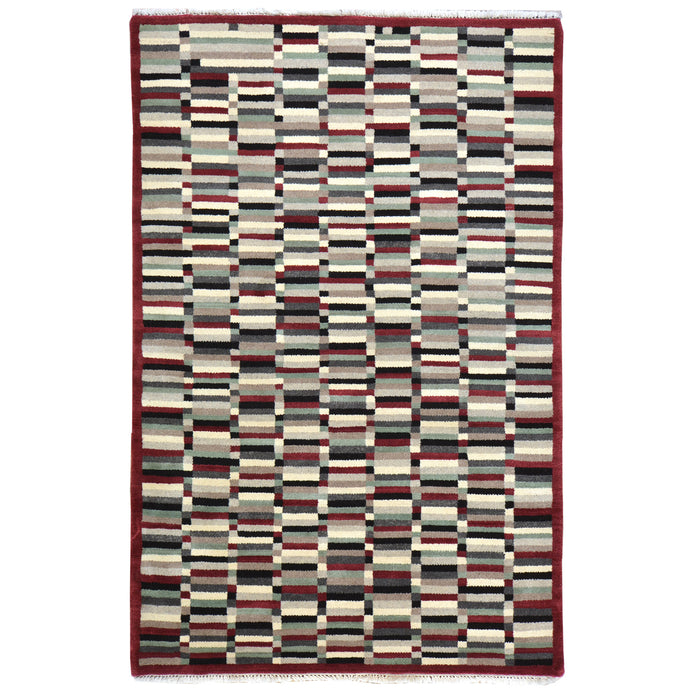 Hand-Knotted Modern Gabbeh Design Handmade Wool Rug (Size 3.11 X 5.11) Cwral-6669