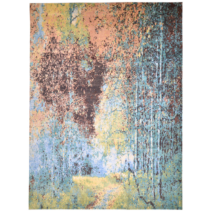 Hand-Knotted Contemporary Modern Abstract Wool Handmade Rug (Size 8.10 X 12.0) Cwral-6735