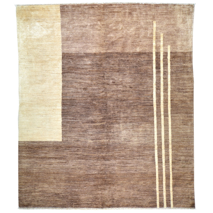 Hand-Knotted Modern Peshawar Gabbeh Design Wool Rug (Size 6.8 X 7.8) Cwral-6840