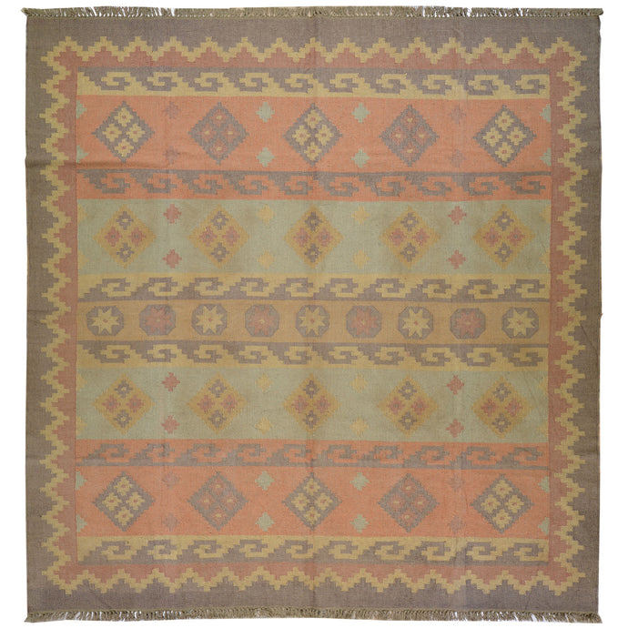 Hand-Woven Flatweave Geometric Design Jute and Wool Square Rug (Size 8.0 X 8.6) Cwral-6921