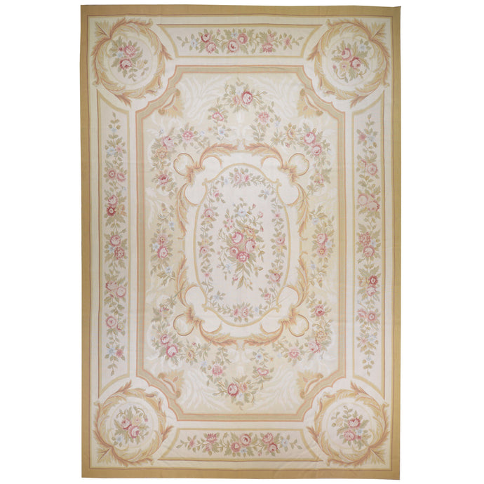 Aubusson Needlepoint Handmade Wool Area Rug (Size 10.0 X 14.0) Cwral-7080