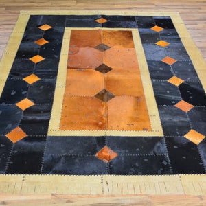 Turkish Cowhide Patchwork Hand Stitched Rug (Size 5.7 X 7.8) Cwral-7173