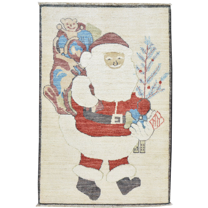 Hand-Knotted Fluffy Beard Santa Claus Handmade Wool Rug (Size 2.3 X 3.10) Cwral-7554