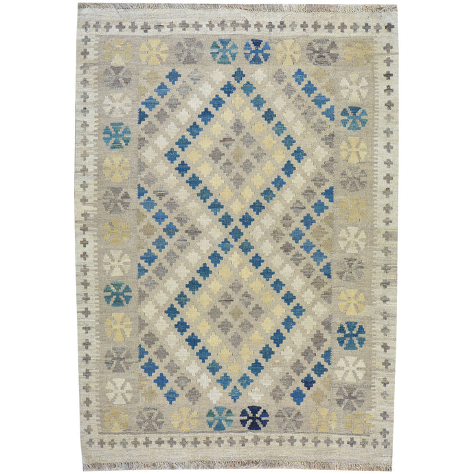 Hand-Woven Geometric Design Flat-Weave Wool Rug (Size 4.2 X 5.9) Cwral-7587
