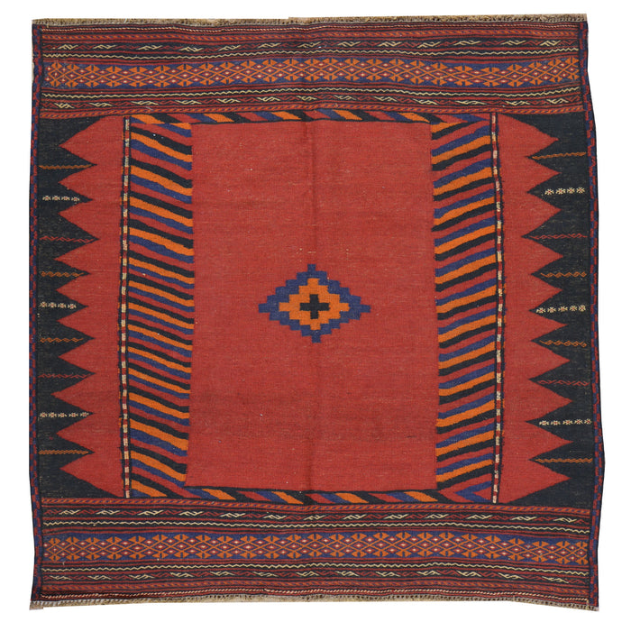 Hand-Woven Flat-weave Tribal Kilim Wool Rug (Size 4.3 X 4.4) Cwral-7599