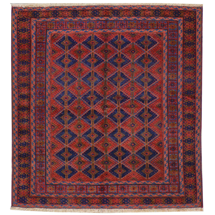Hand-Knotted And Soumak Weave Tribal Wool Rug (Size 4.1 X 4.5) Cwral-7689