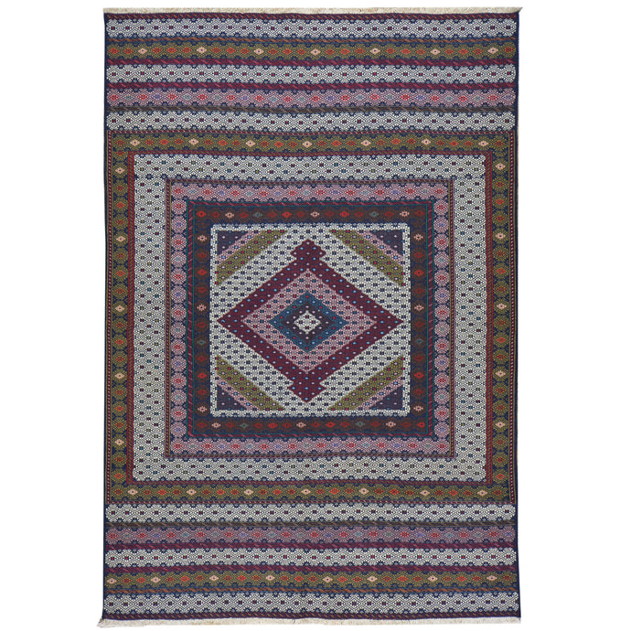 Soumak Fine Tribal Traditional Handmade Wool Rug (Size 4.3 X 6.2) Cwral-7692