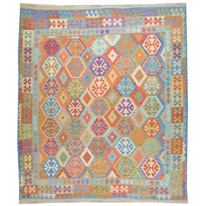 Hand-Woven Geometric Design Flat-Weave Wool Rug (Size 8.4 X 9.7) Cwral-7695