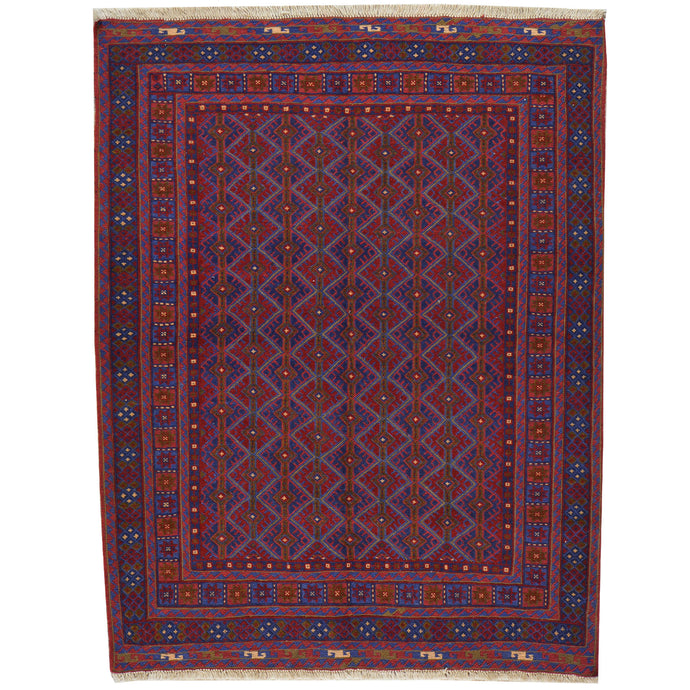 Hand-Knotted And Soumak Weave Tribal Wool Rug (Size 3.9 X 4.9) Cwral-7707
