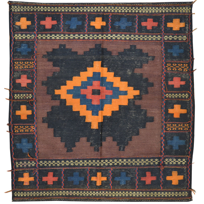 Hand-Woven Flat-weave Tribal Kilim Wool Rug (Size 3.11 X 4.2) Cwral-7713
