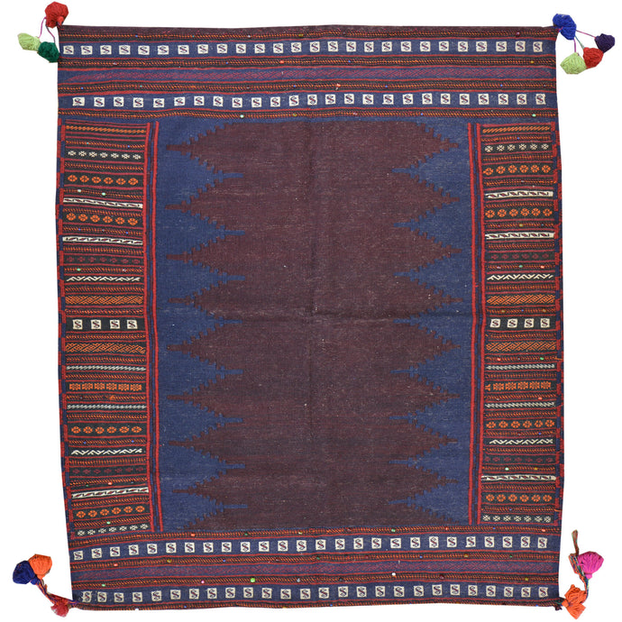 Hand-Woven Flat-weave Tribal Kilim Wool Rug (Size 4.8 X 5.4) Cwral-7716