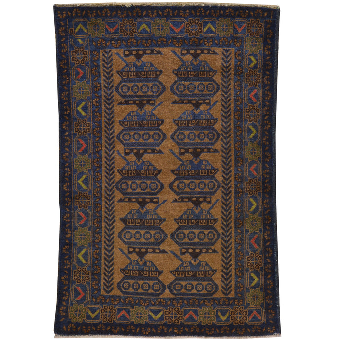 Hand-Knotted Tribal Baluch Handmade 100% Wool Rug (Size 2.8 X 4.3) Cwral-7773