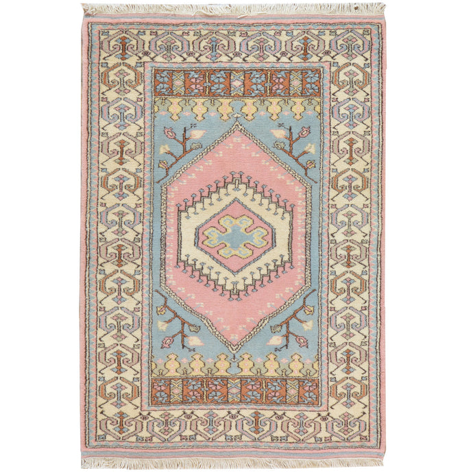 Hand-Knotted Turkish Tribal Handmade Wool Rug (Size 3.1 X 4.8) Cwral-7794