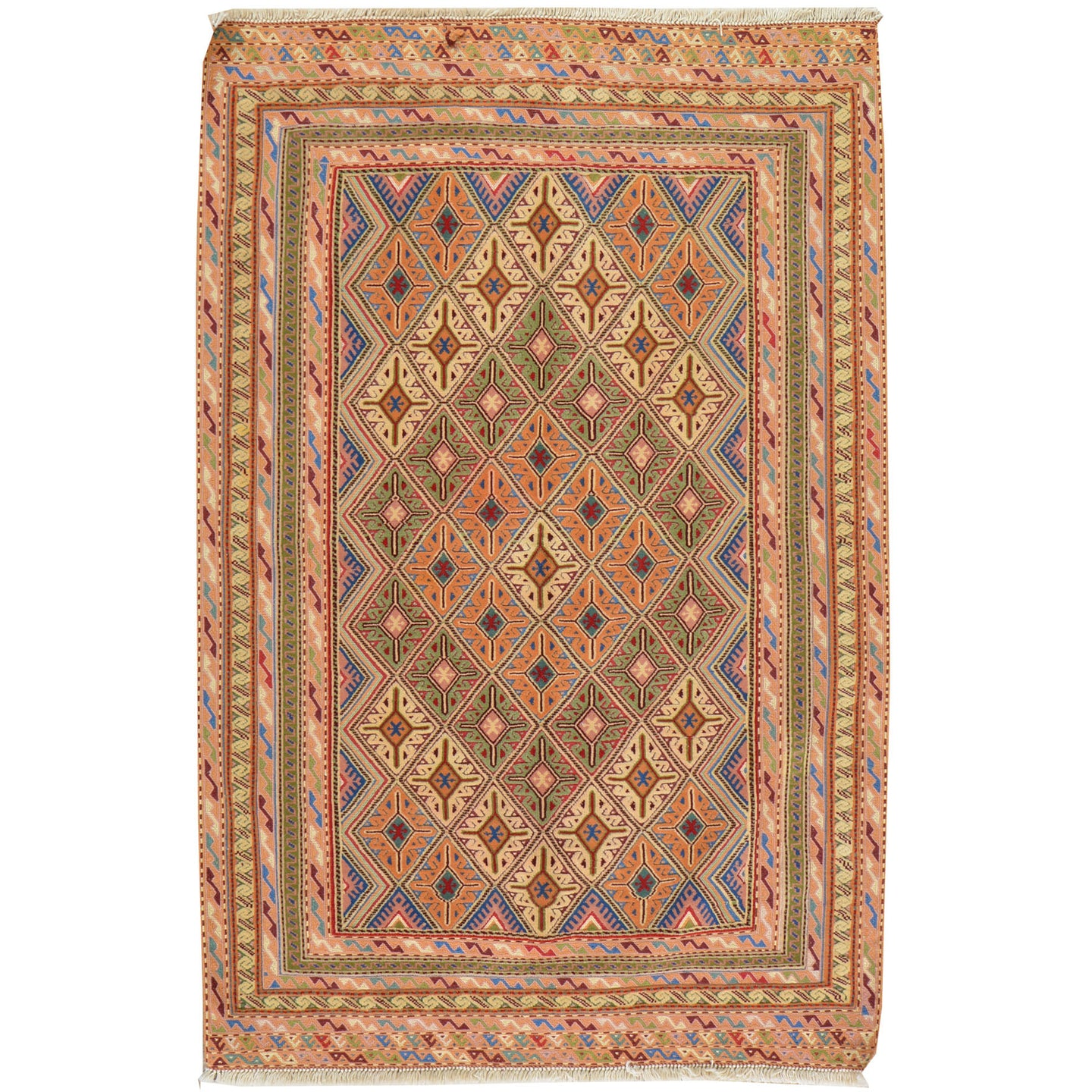 Hand-Knotted And Soumak Fine Oriental Tribal Afghan Rug (Size 3.0 X 4.6) Cwral-7830