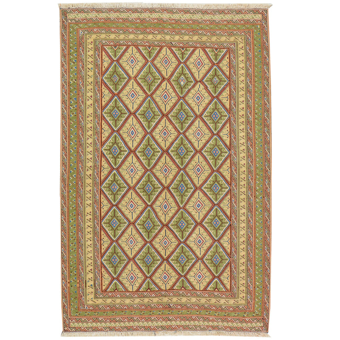Hand-Knotted And Soumak Fine Oriental Tribal Afghan Rug (Size 2.10 X 4.5) Cwral-7833