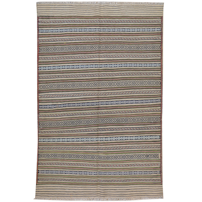 Hand-Woven Tribal lagharee Soumack Striped Design Wool Rug (Size 3.2 X 4.10) Cwral-7851