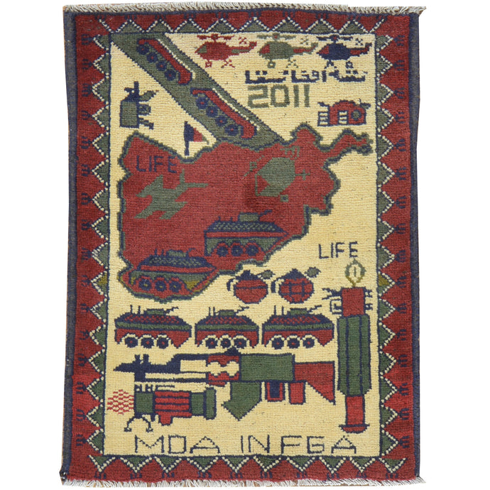 Hand-Knotted Tribal War Design Handmade wool Rug (Size 2.0 X 2.7) Cwral-7872